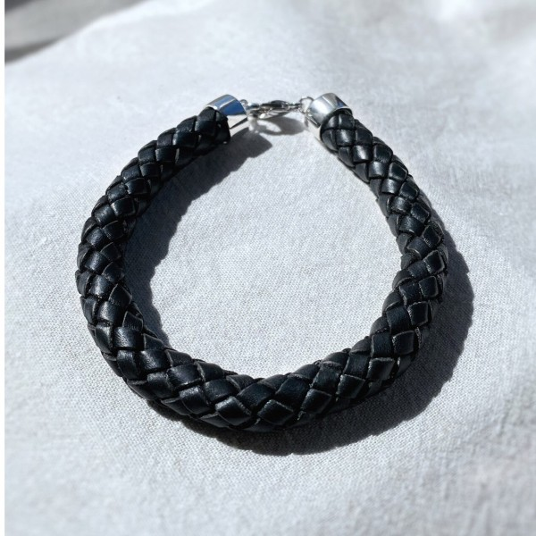 Falabella BR27 Plaited Leather and Silver Bracelet