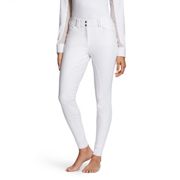 Ariat Womens Tri Factor Grip Full Seat Breech White front