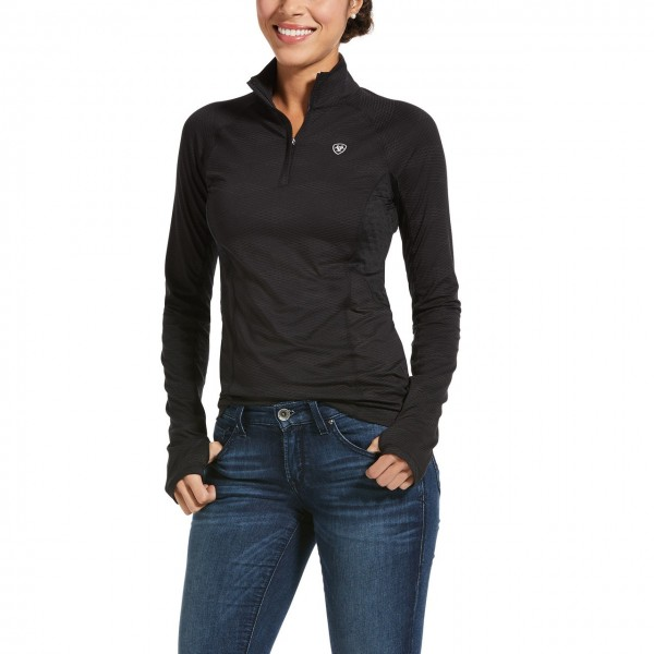 Ariat Womens Lowell 2.0 1/4 Zip Baselayer Black Reflective