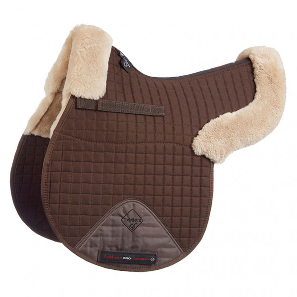 LeMieux Lambskin GP/Jumping Half Lined Numnah Taupe Wool/Brown Fabric