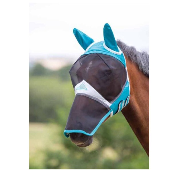 Shires Fine Mesh Fly Mask with Ears & Nose Teal