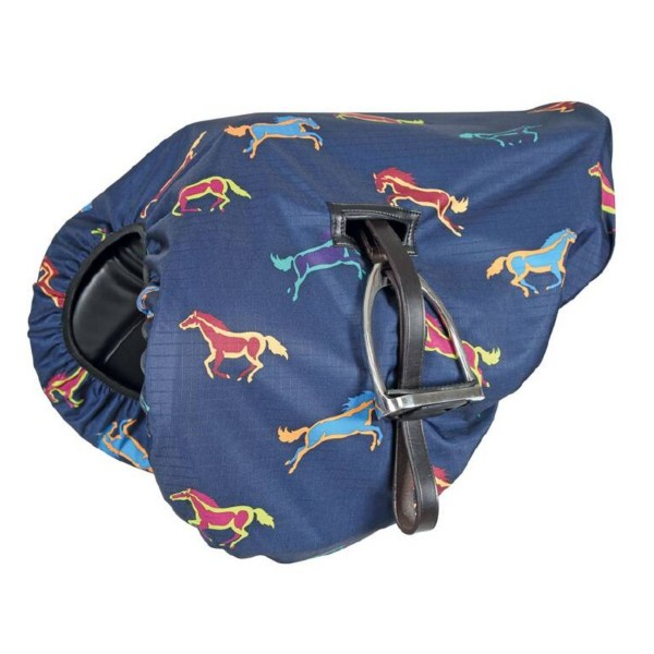 Shires Waterproof Ride On Saddle Cover Horse Print