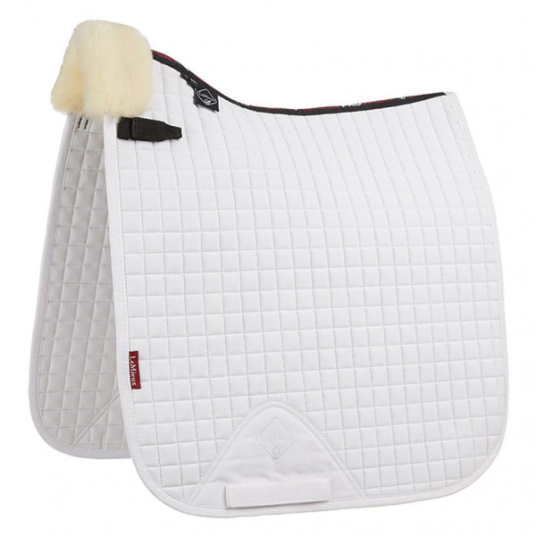 LeMieux Dressage Square Front Rolled Edge Natural Wool/White Fabric