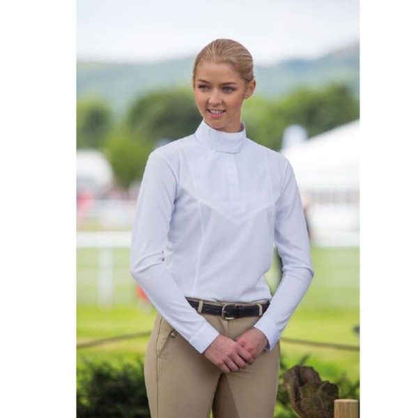 Shires Ladies Aubrion Long Sleeve Stock Shirt White
