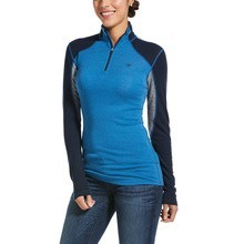 Ariat Womens Cadence Wool 1/4 Zip Base Layer Blue/Grey