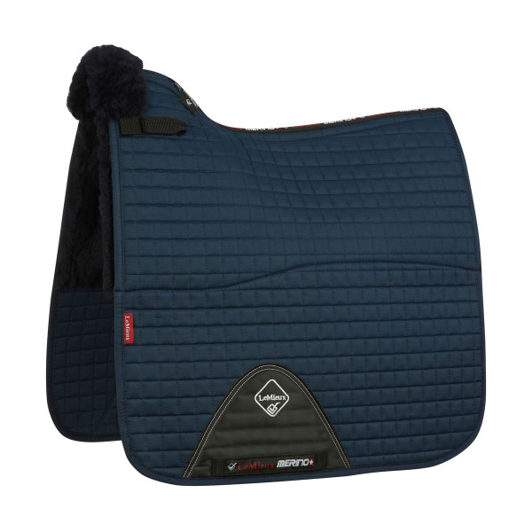 LeMieux Merino+ Half Lined Cotton Dressage Square Navy/Navy