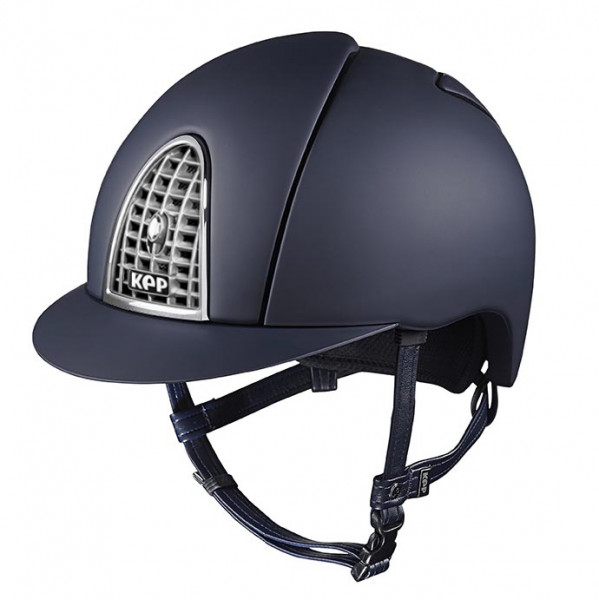 KEP Cromo Textile Riding Hat in Blue With Chrome Grid Size 51cm-55cm