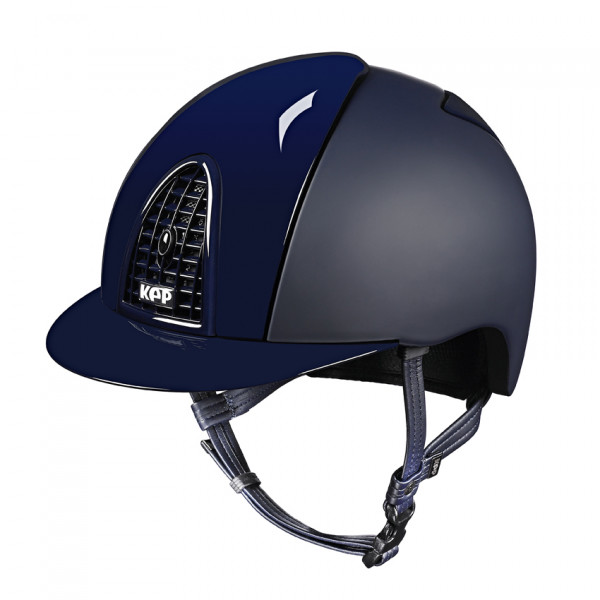 KEP Cromo Textile Riding Hat in Blue With Polish Grid, Inserts & Visor Size 56cm-62cm