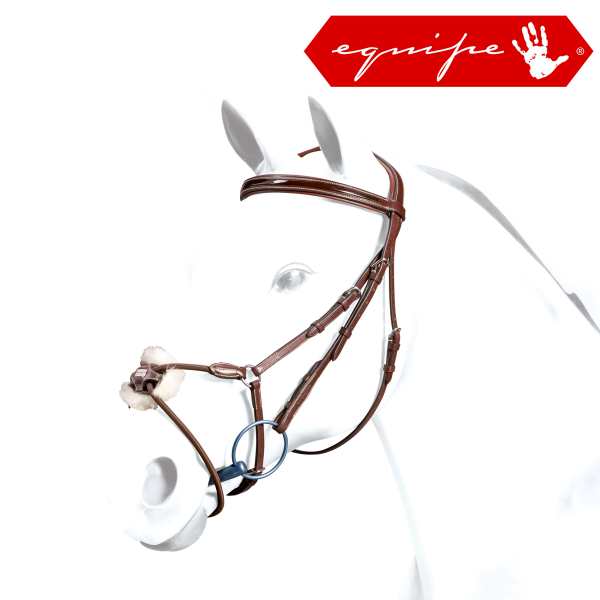 Equipe Full Size Grackle Bridle With Patent Browband Black