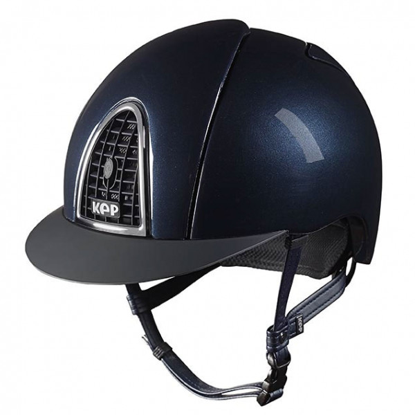 KEP Cromo Shine Riding Hat in Blue With Black Grid Size Size 56cm-62cm