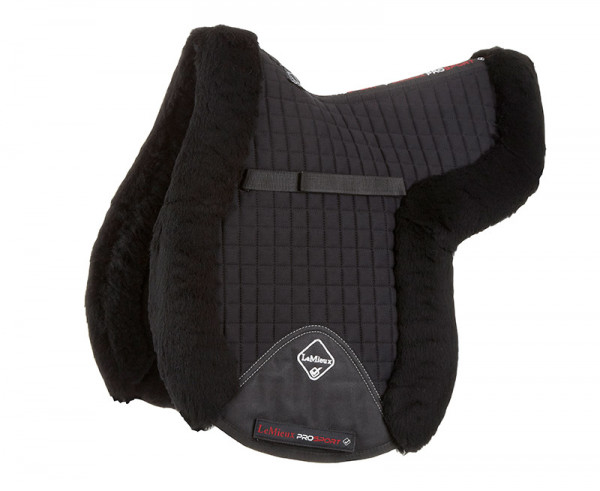 LeMieux Lambswool GP/Jumping Fully Lined Numnah Black Wool/Black Fabric