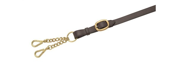 Shires Blenheim Leather Lead Rein With Large Newmarket Chain Black