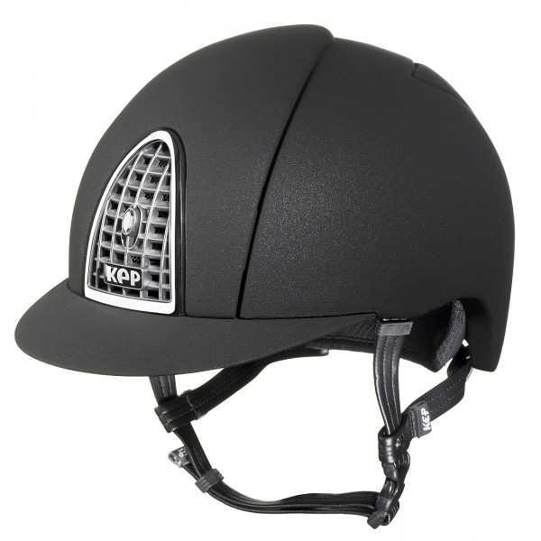 KEP Cromo Mica Riding Hat in Black With Chrome Grid Size 56cm-62cm