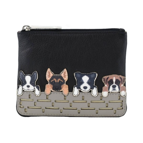 Mala Leather Best Friends Dogs On Wall Coin Purse