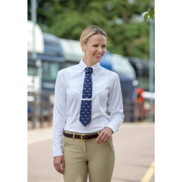 Shires Ladies Aubrion Long Sleeve Tie Shirt White
