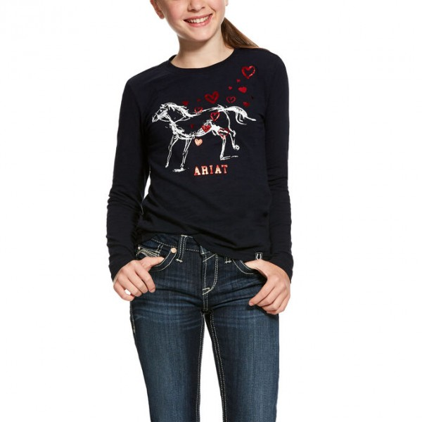 Ariat Kids' Pony Love Long Sleeve T-shirt Navy