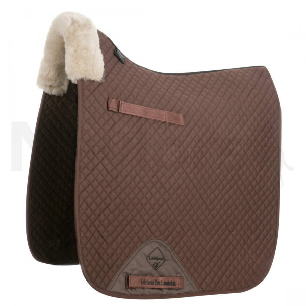 LeMieux Dressage Square Front Rolled Edge Taupe Wool/Brown Fabric