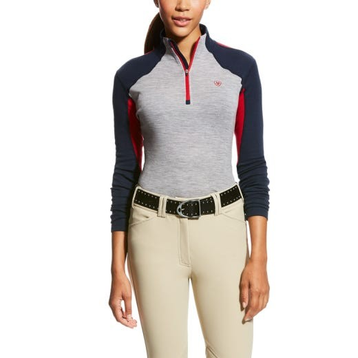 Ariat Womens Cadence Wool 1/4 Zip Base Layer Team