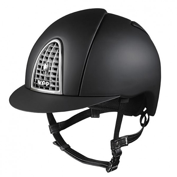 KEP Cromo Textile Riding Hat in Black With Chrome Grid Size 56cm-62cm