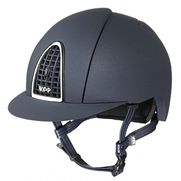 KEP Cromo Mica Riding Hat in Blue With Blue Grid Size 51cm-55cm