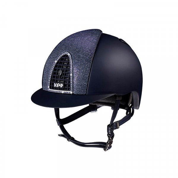 KEP Cromo Textile Riding Hat in Blue With Blue Grid Front & Back Blue Glitter Inserts Size 51cm-55cm