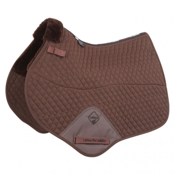 LeMieux Lambswool Close Contact Jumping Square Half Lined Brown Wool/Brown Fabric