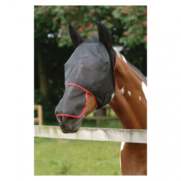 Equilibrium Field Relief Max Fly Mask Black with Red Binding