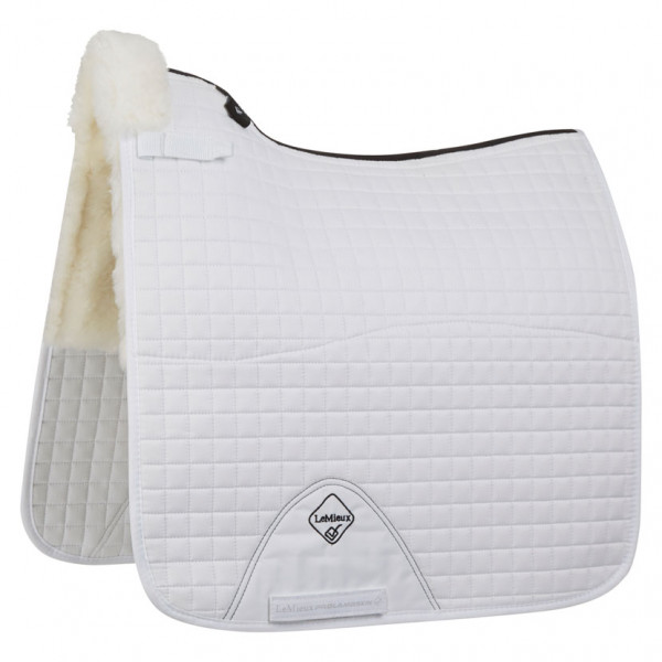 LeMieux Lambswool Dressage Square Half Lined White Wool/White Fabric