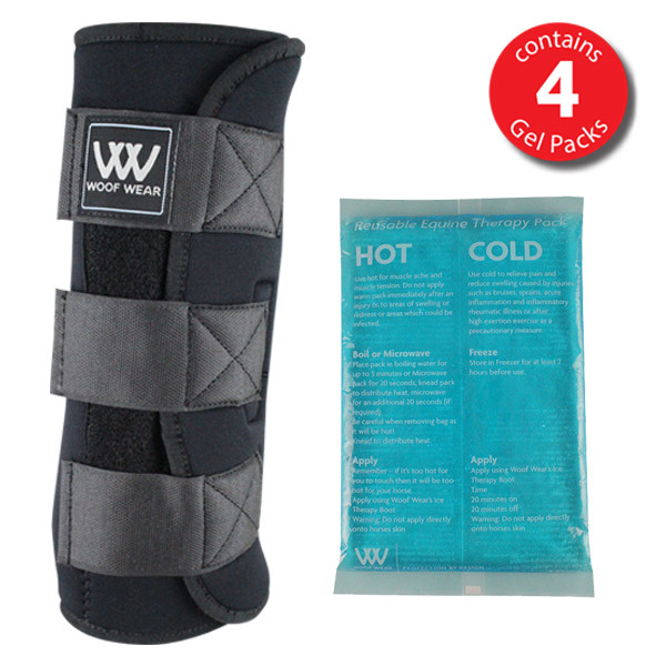 Woof Wear Ice Therapy Boot w Gel Packs Black