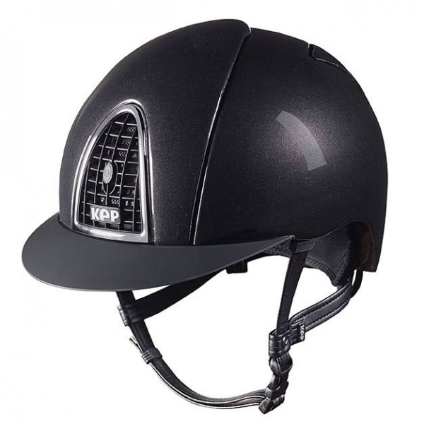 KEP Cromo Shine Riding Hat in Black With Black Grid Size 51cm-55cm