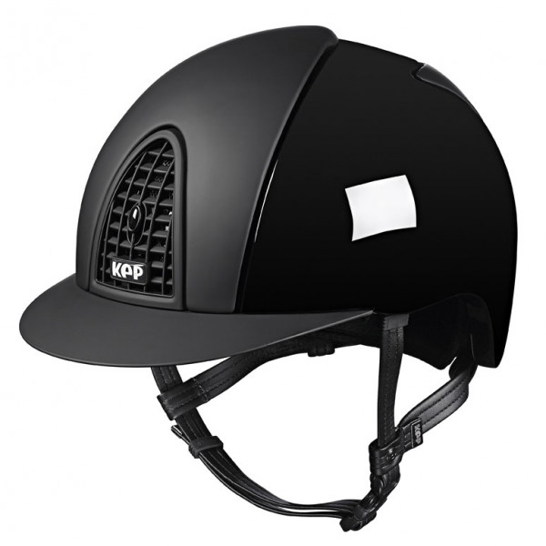 KEP Cromo Polish Black Riding Hat With Textile Grid, Inserts & Visor Size 51cm-55cm