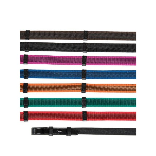 Shires Aviemore Continental Rubber Grip Reins Black/Green