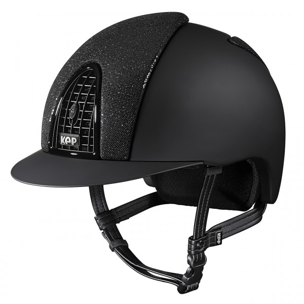 KEP Cromo Textile Riding Hat Black With Black Grid Front & Back Black Glitter Inserts Size 51cm-55cm