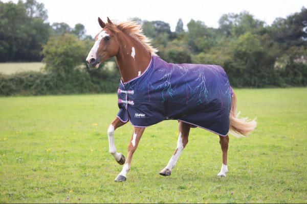 Shires Tempest Original Lite Turnout Rug Purple Lightning