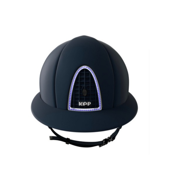KEP Cromo T Riding Hat Shell With Sapphire Blue Swarovski Frame and Polo Peak Medium Shell 56-58cms