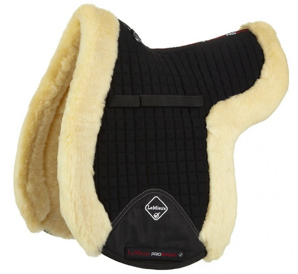 LeMieux Lambswool GP/Jumping Fully Lined Numnah Natural Wool/Black Fabric